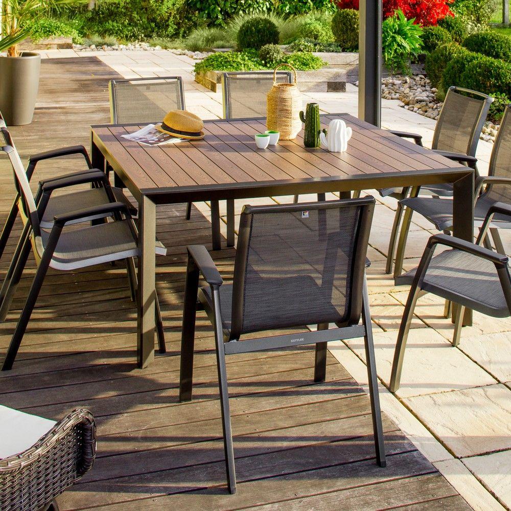 Table de jardin Malaga L150 l150 aluminium L 155 x l 155 x H 15 cm ...