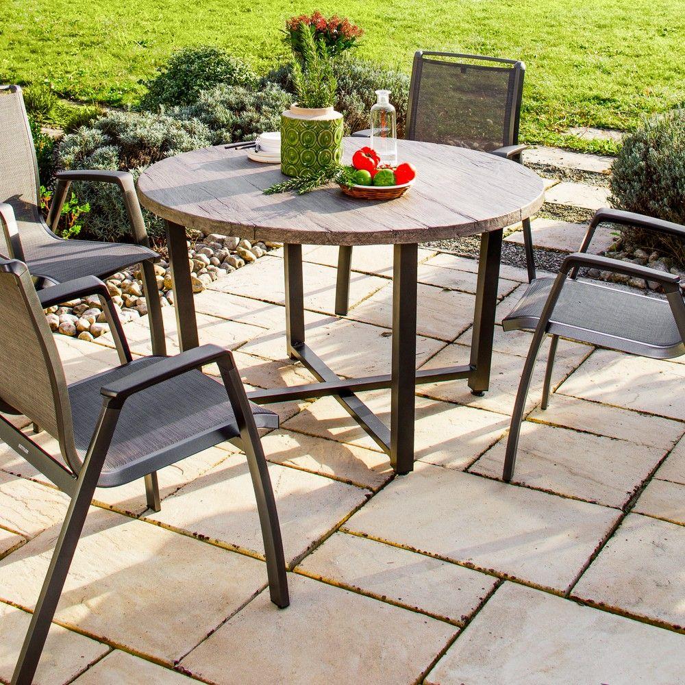 Table de jardin ronde Lausanne aluminium Ø120 H74 cm L 130 x l 130 x ...