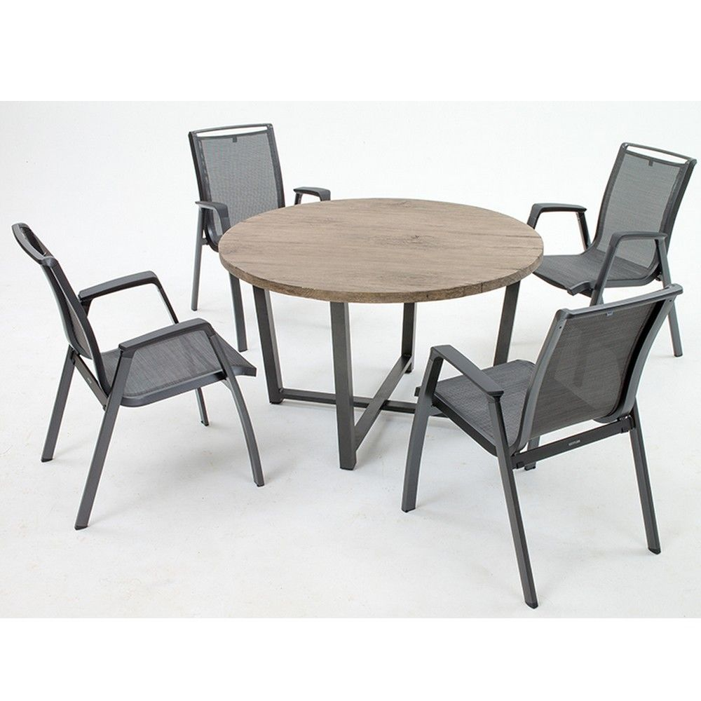 table de jardin ronde lausanne aluminium 120 h74 cm l 130. Black Bedroom Furniture Sets. Home Design Ideas
