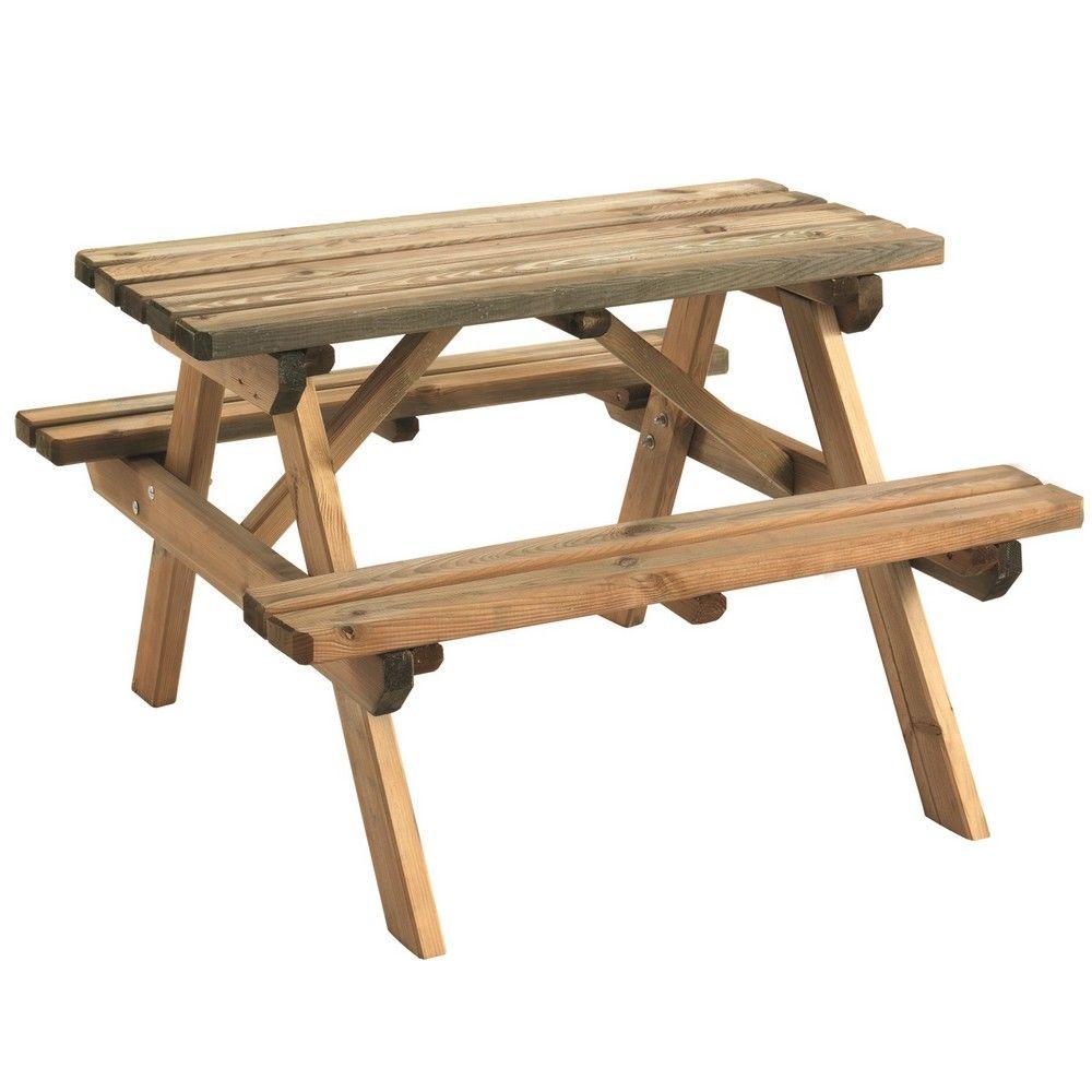 Table de pique-nique enfant bois traité autoclave Wapiti L90 l90 cm ...