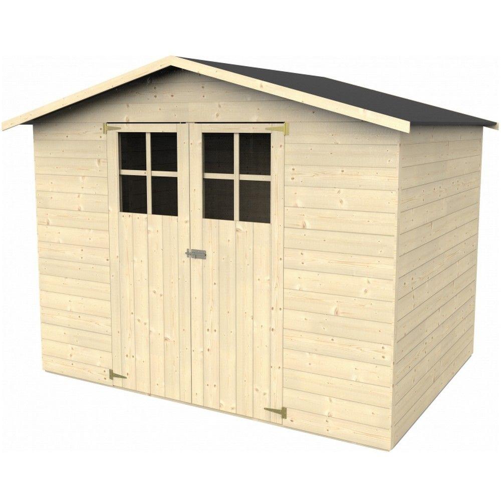 abri de jardin bois avec plancher 5 29 m ep 12 mm lodum. Black Bedroom Furniture Sets. Home Design Ideas