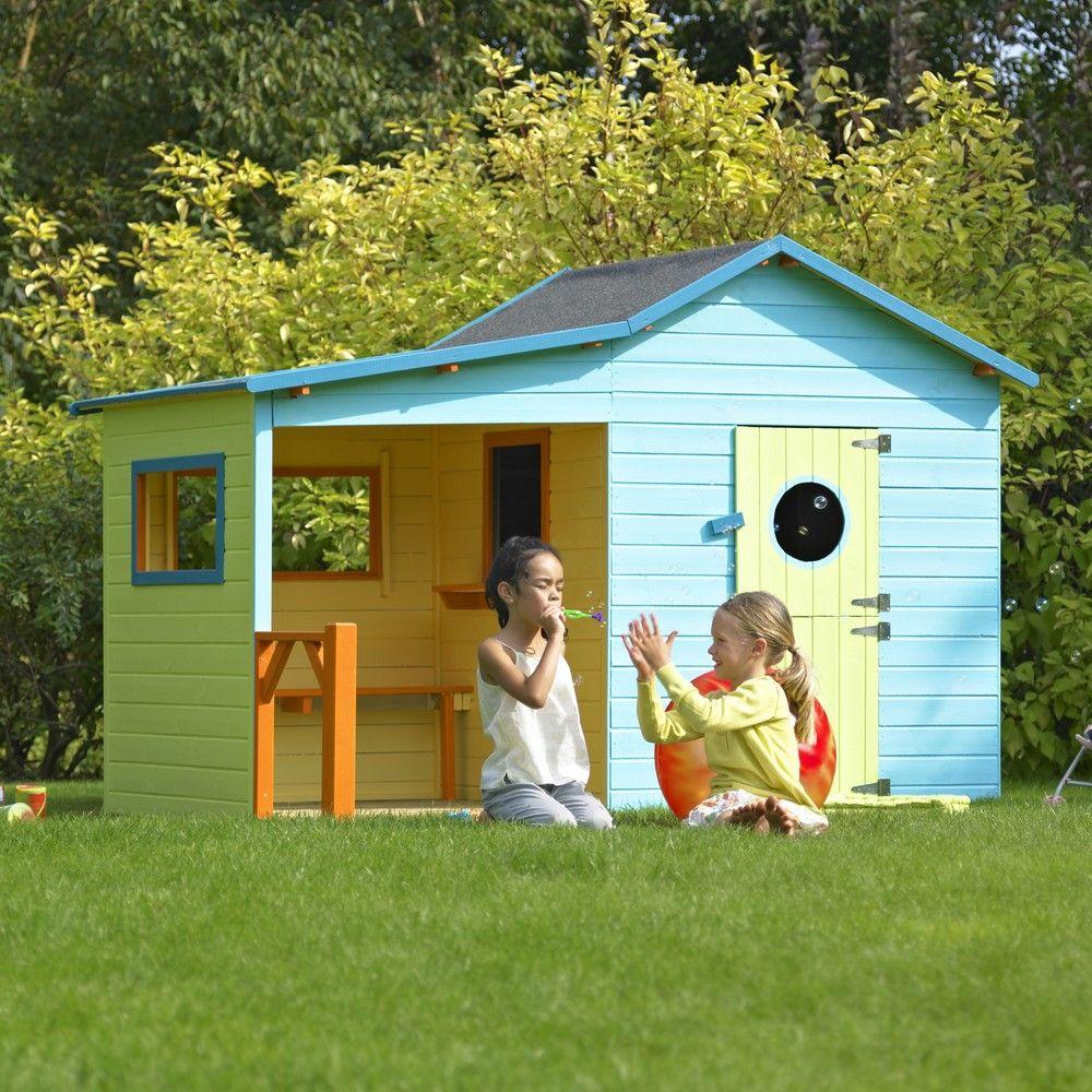 Maisonnette enfant bois traité Hacienda avec pergola