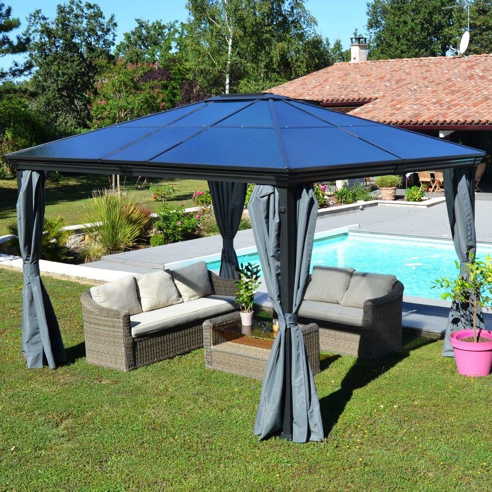 Eclairage Solaire Pour Tonnelle tonnelle autoportante aluminium + toit polycarbonate 3x3,6m jade