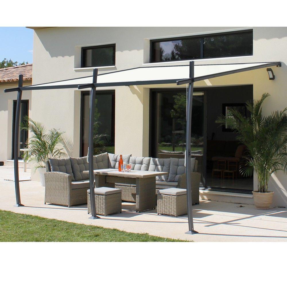 Tonnelle adossé aluminium + Toile renforcé 4x3,35m Solea