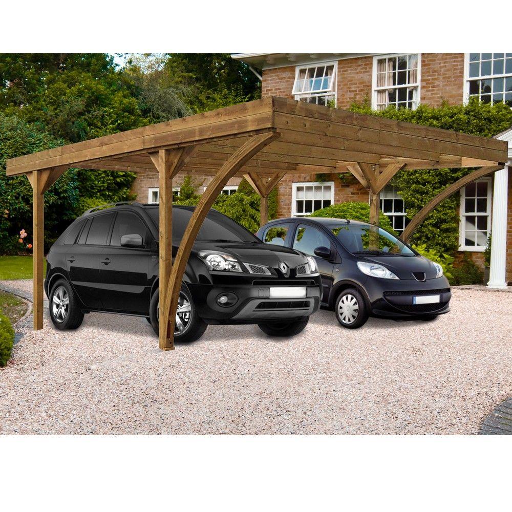 Carport bois traité Double Harold : 2 voitures - 30,86 m²