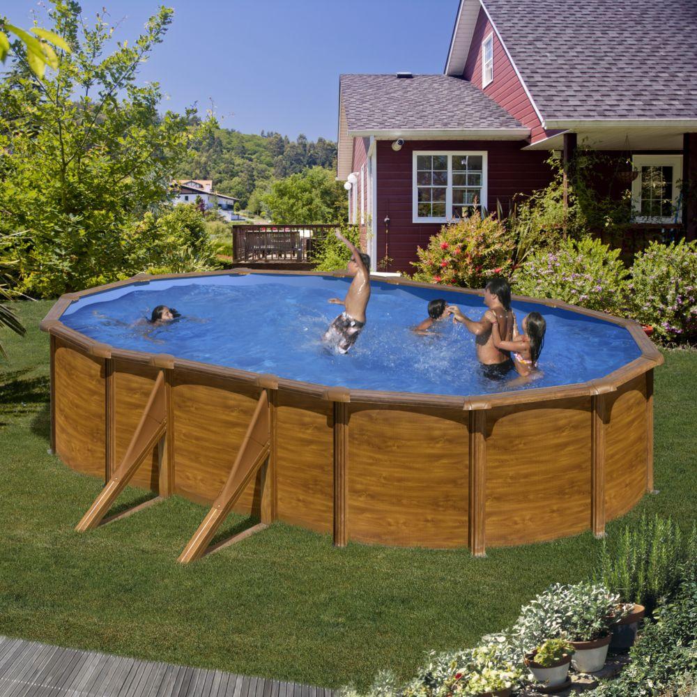 piscine acier ovale maldivas aspect bois l 5 x l 3 m gr. Black Bedroom Furniture Sets. Home Design Ideas