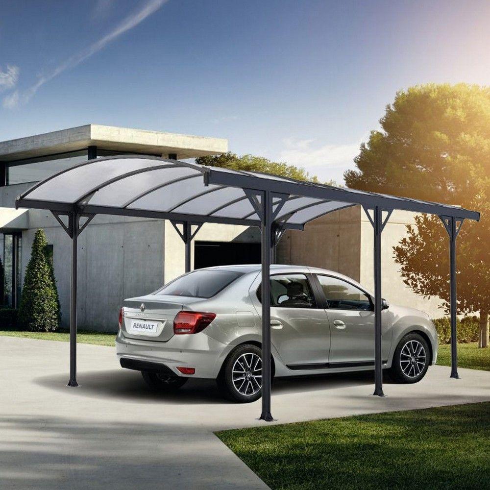 Carport aluminium toit polycarbonate : 1 voiture - 15,24 m²
