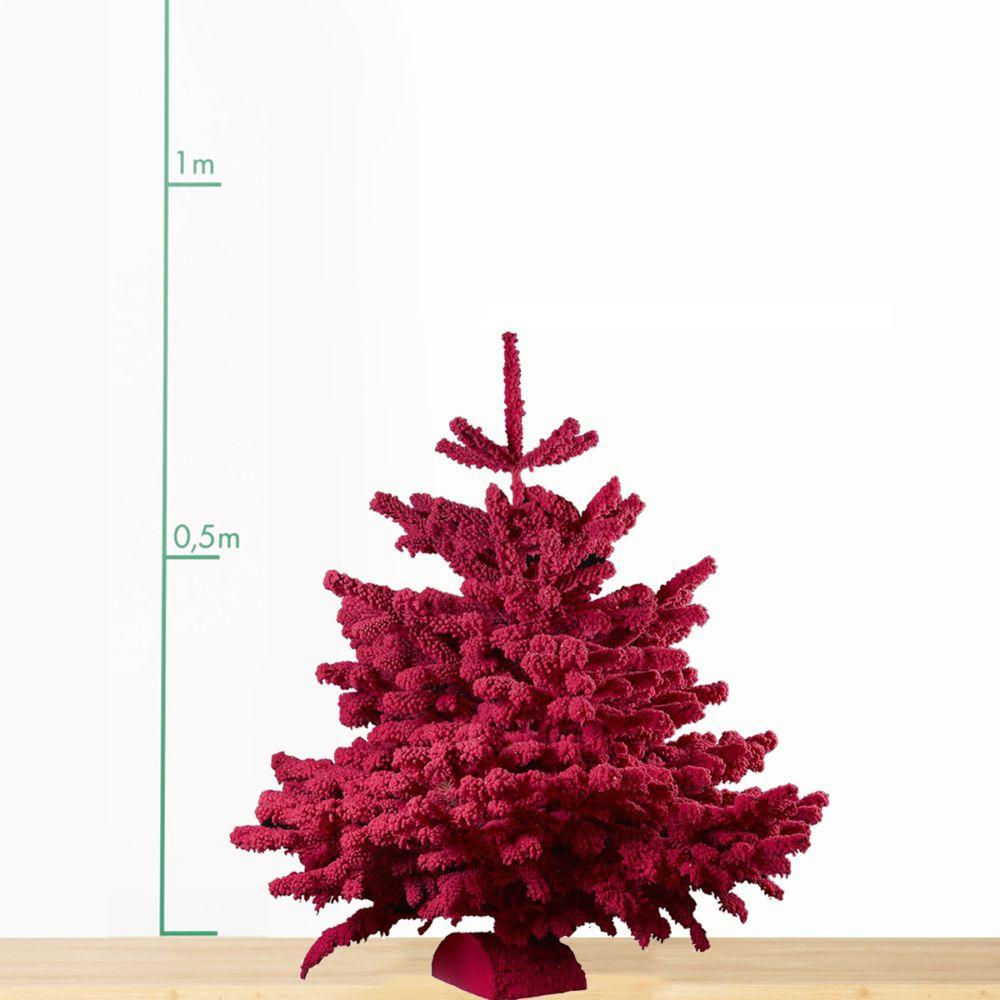 Sapin de Noël Nordmann floqué fuschia 70/90 cm. Livraison incluse.