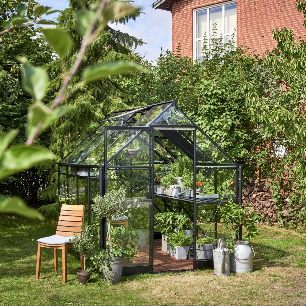 Serre de jardin - Serre en verre trempé Qube noir 5,1 m² + embase - Halls - Serre de jardin GammVert