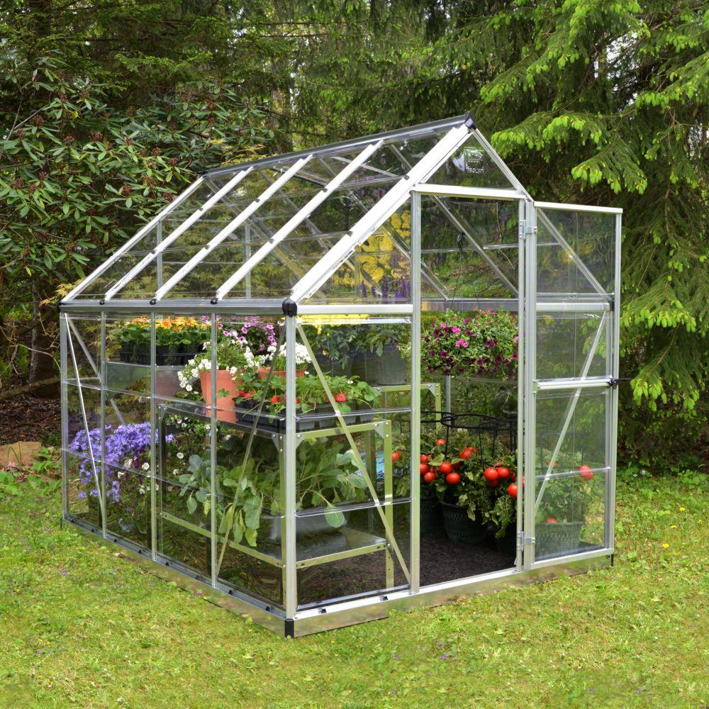 Serre de jardin - Serre polycarbonate Harmony argent 4.6 m² - Palram - Serre de jardin GammVert