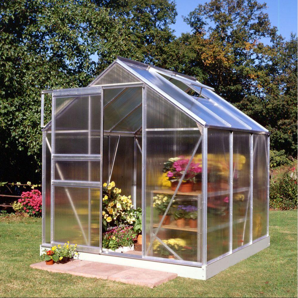 Serre de jardin - Serre polycarbonate Popular aluminium 3.80 m² + embase - Halls - Serre de jardin GammVert