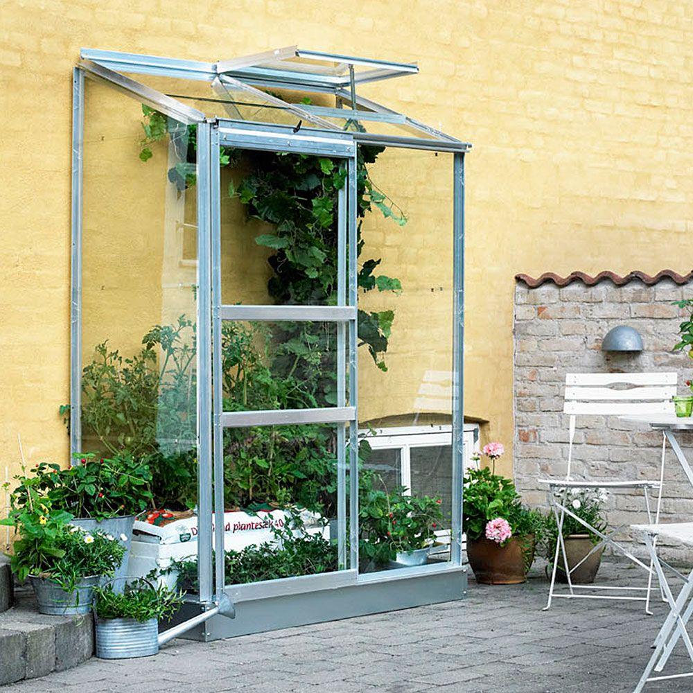 Serre adossée en verre horticole Altan aluminium 0.90 m² + embase - Halls
