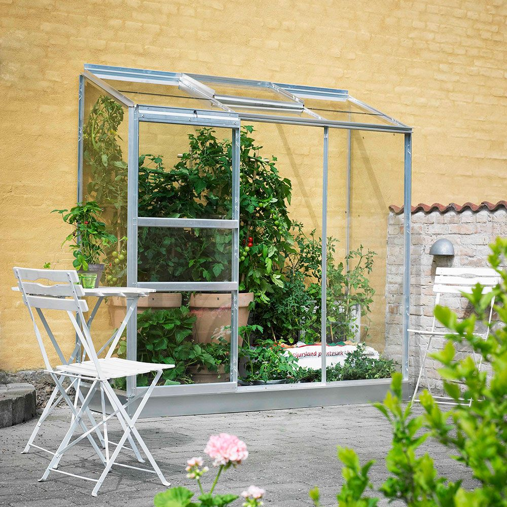Serre adossée en verre horticole Altan aluminium 1.30 m² + embase - Halls