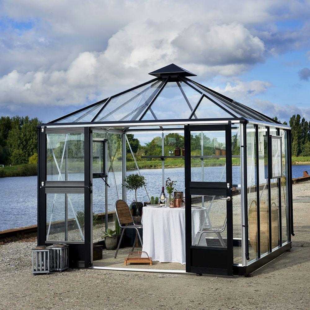 Serre en verre trempé Oase aluminium 8.8 m² + embase - Juliana