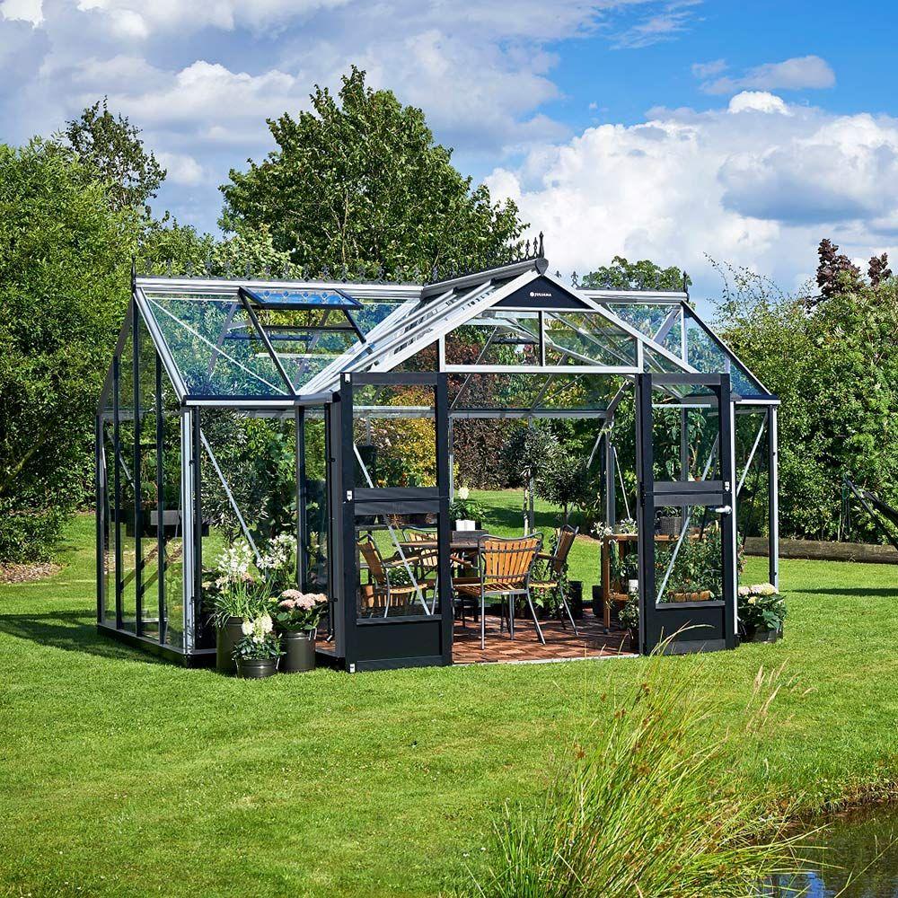 Serre en verre trempé Orangery aluminium 15.2 m² + embase - Juliana