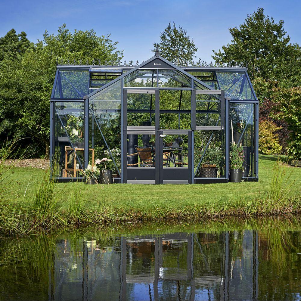 Serre en verre trempé Orangery anthracite 15.2 m² + embase - Juliana