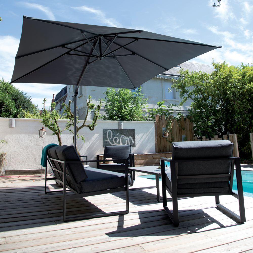 parasol d port inclinable aluminium roma 3x4 m gris 1 colis l 265 x l 34 x h 14 cm gamm vert