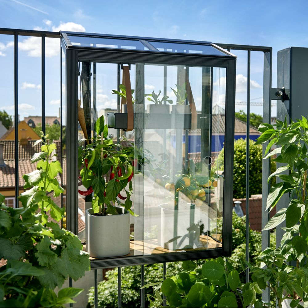 Serre en verre trempé Balcony noir 0.16 m² - Juliana