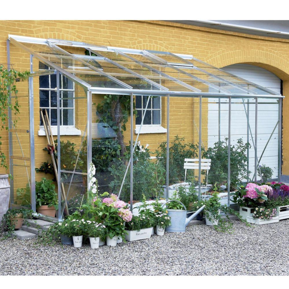 Serre adossée Royal en verre horticole aluminium 7.20 m² - Halls