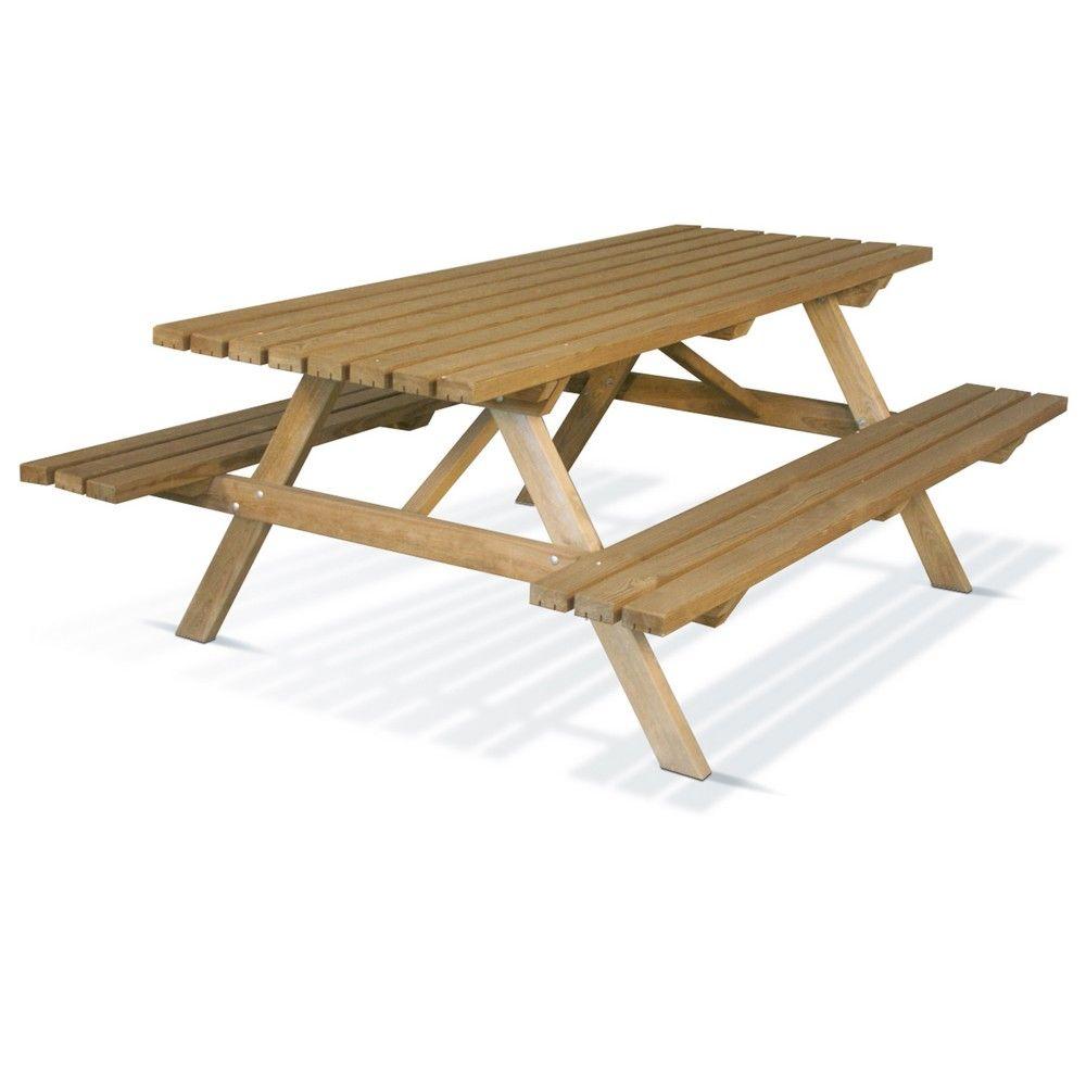 Table de pique-nique bois traité L200 l80 cm