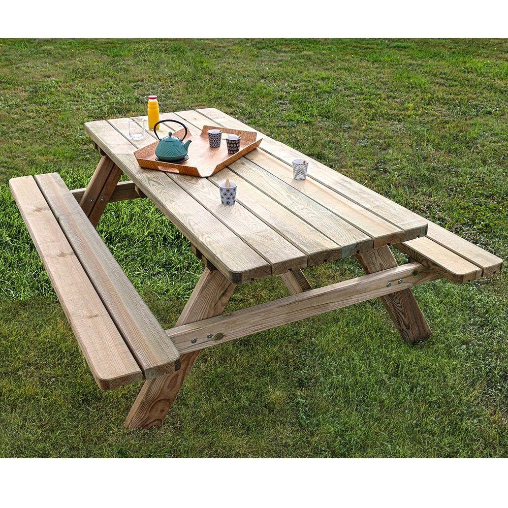 Table de pique-nique bois traité L9 l9 cm