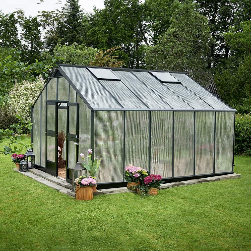 Serre polycarbonate Jardinier anthracite 16.20 m² + embase - Juliana