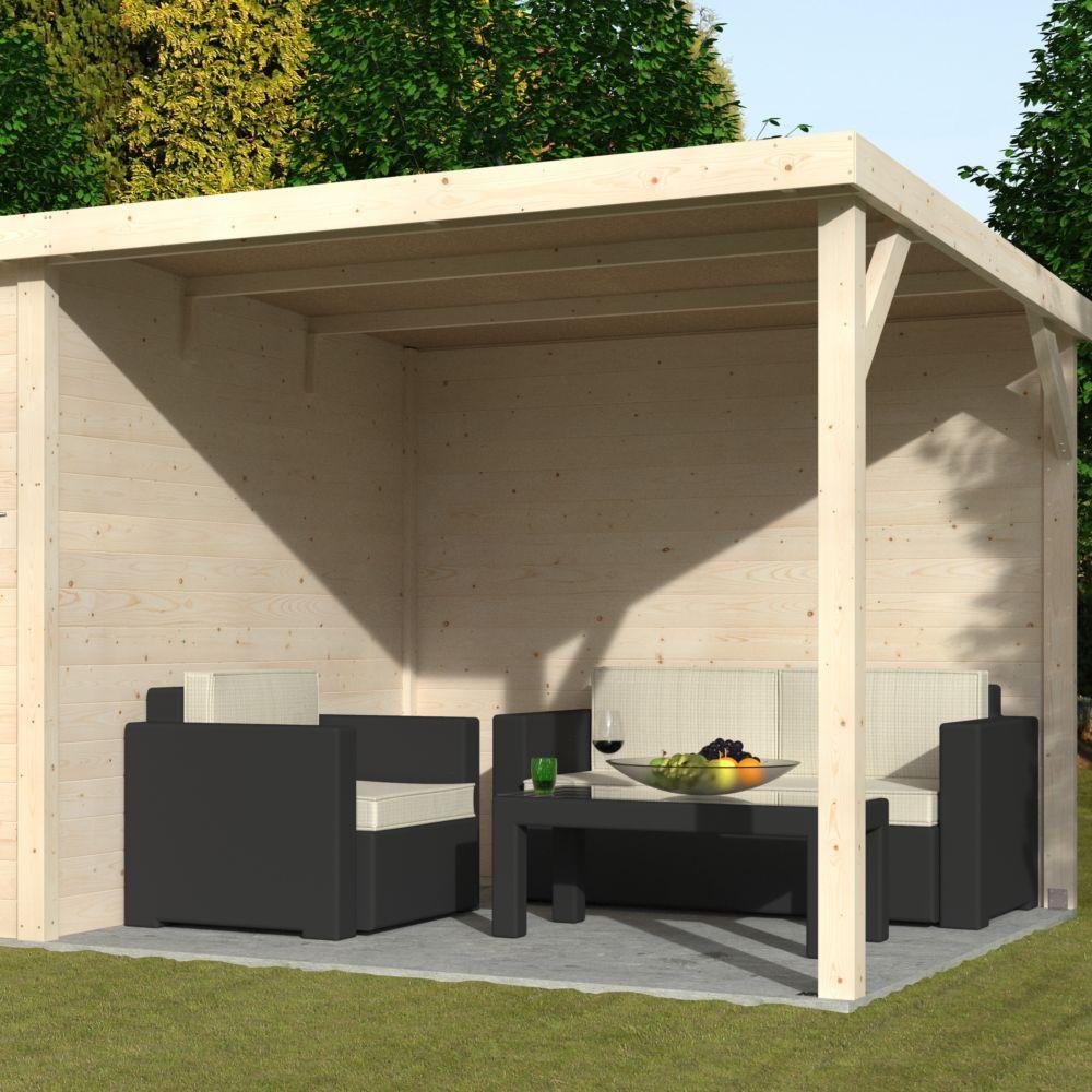 Abri de jardin bois toit plat + auvent Paradis 11 m² Ep. 19 mm