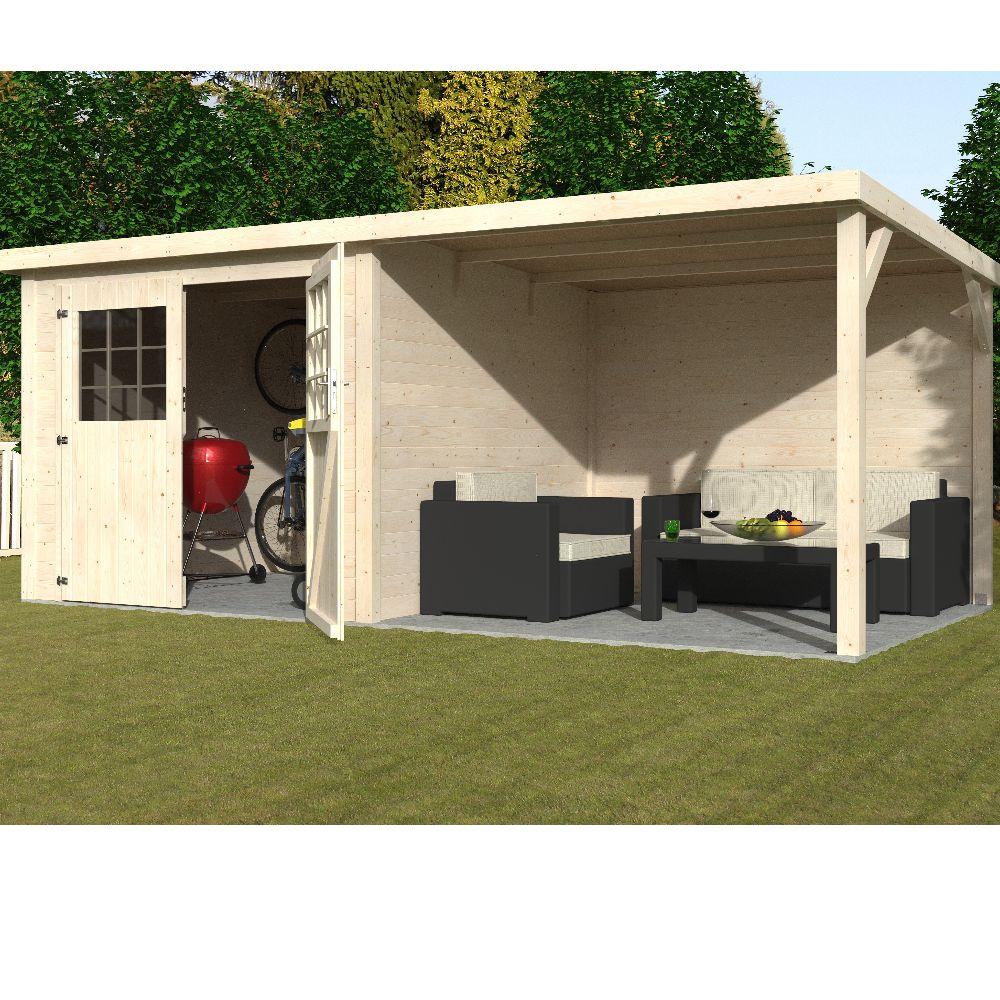 Abri de jardin bois toit plat + auvent 11 m² Ep. 19 mm Paradis
