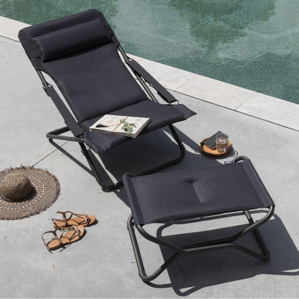 chaise longue transabed lafuma be comfort dark grey 1. Black Bedroom Furniture Sets. Home Design Ideas
