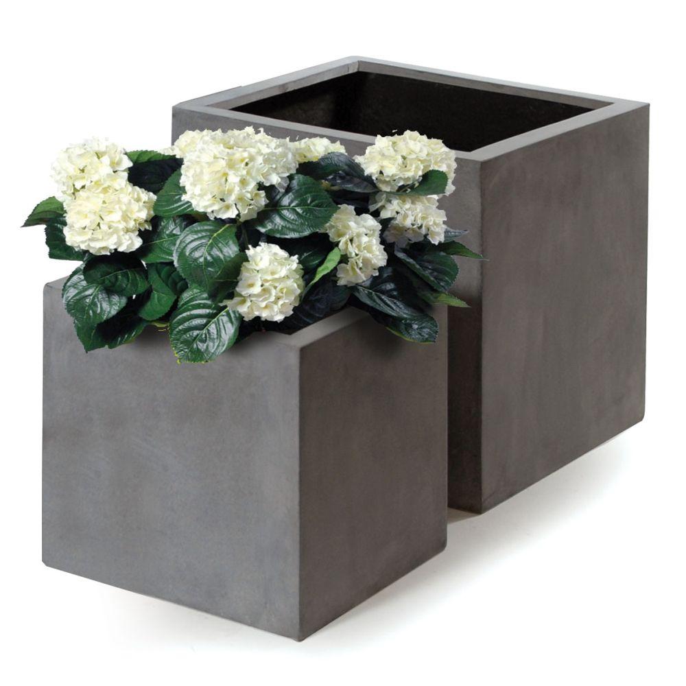 Bac à fleurs fibre de terre Clayfibre Cubi L28 H28 cm gris anthracite