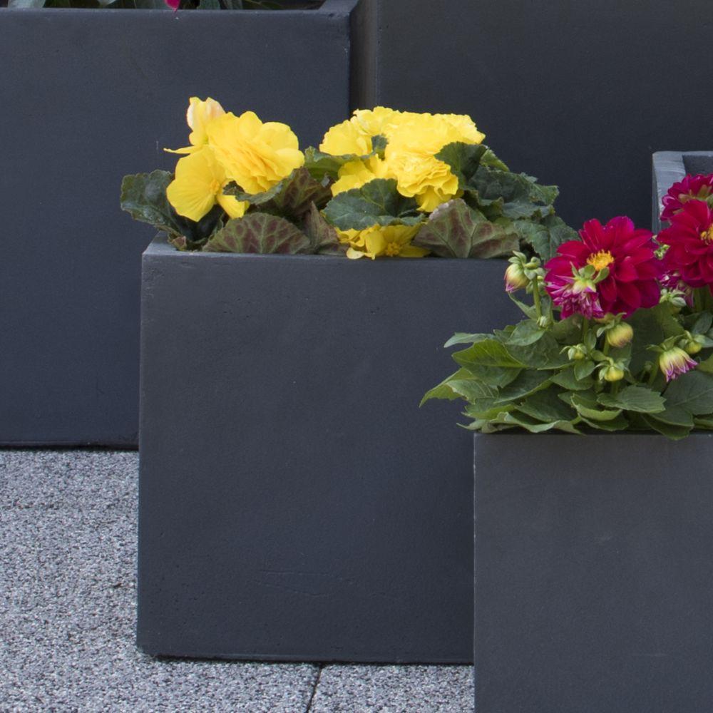 Bac à fleurs fibre de terre Clayfibre Cubi L28 H28 cm gris