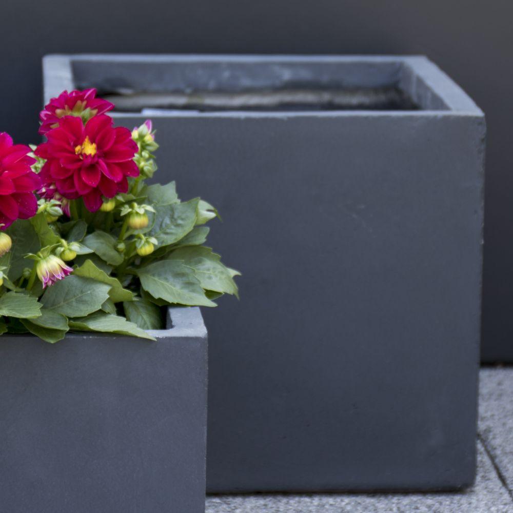 Bac à fleurs fibre de terre Clayfibre Cubi L34 H30 cm gris