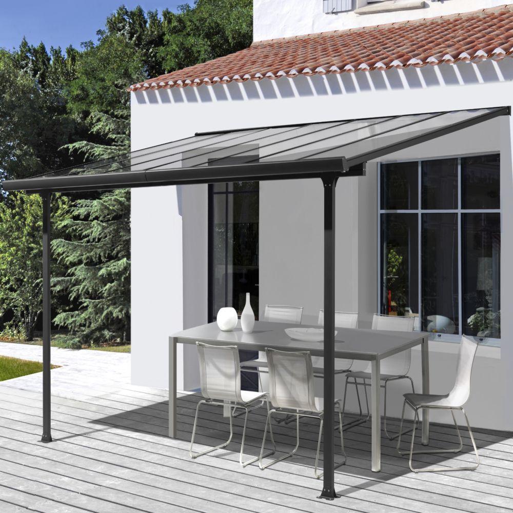 Tonnelle adossée aluminium et toit en polycarbonate 3 x 3 M