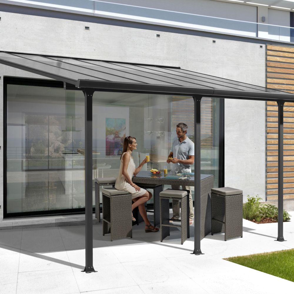 tonnelle adoss e aluminium et toit en polycarbonate 3 x 5. Black Bedroom Furniture Sets. Home Design Ideas