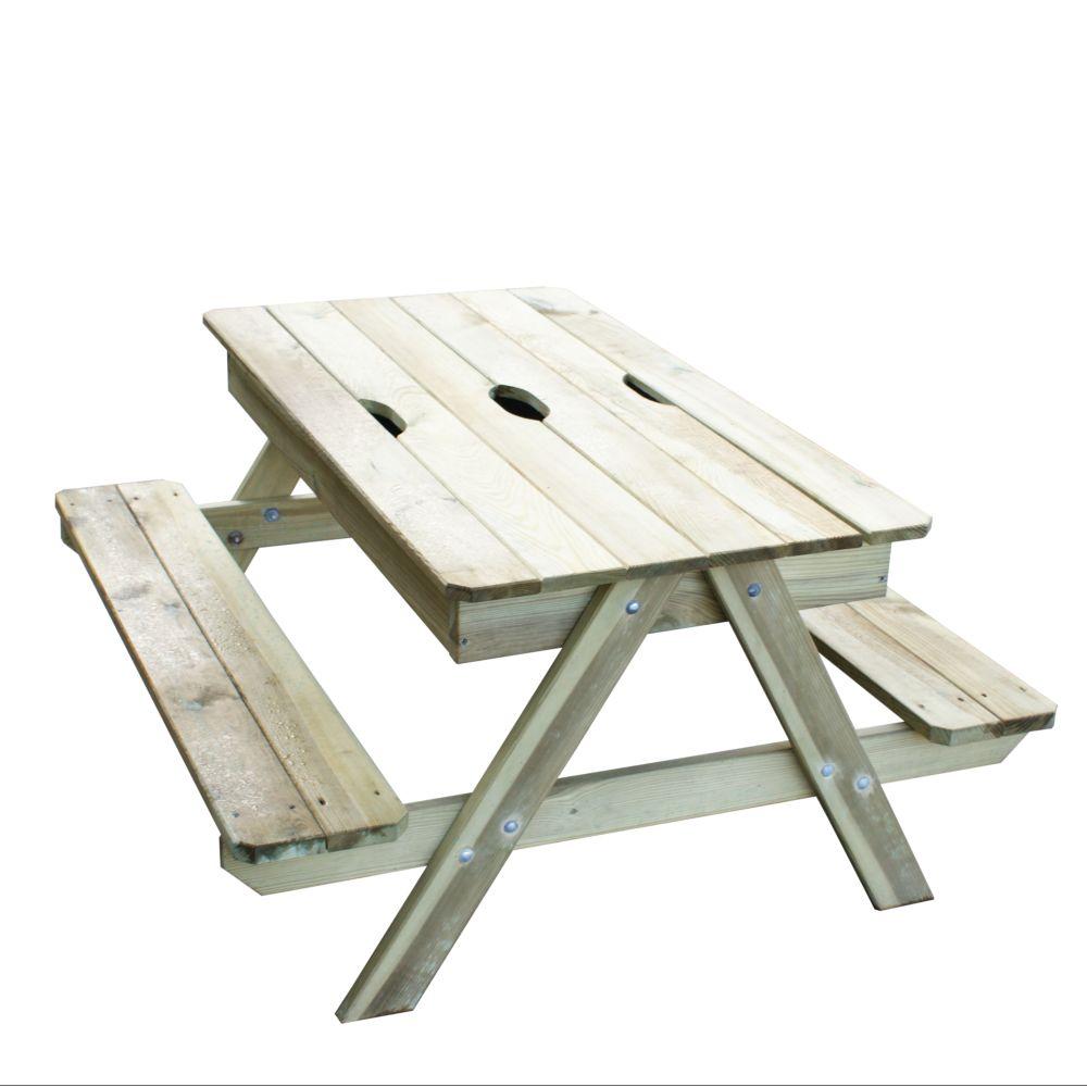 Table pique-nique bois avec bac à sable sous plateau amovible