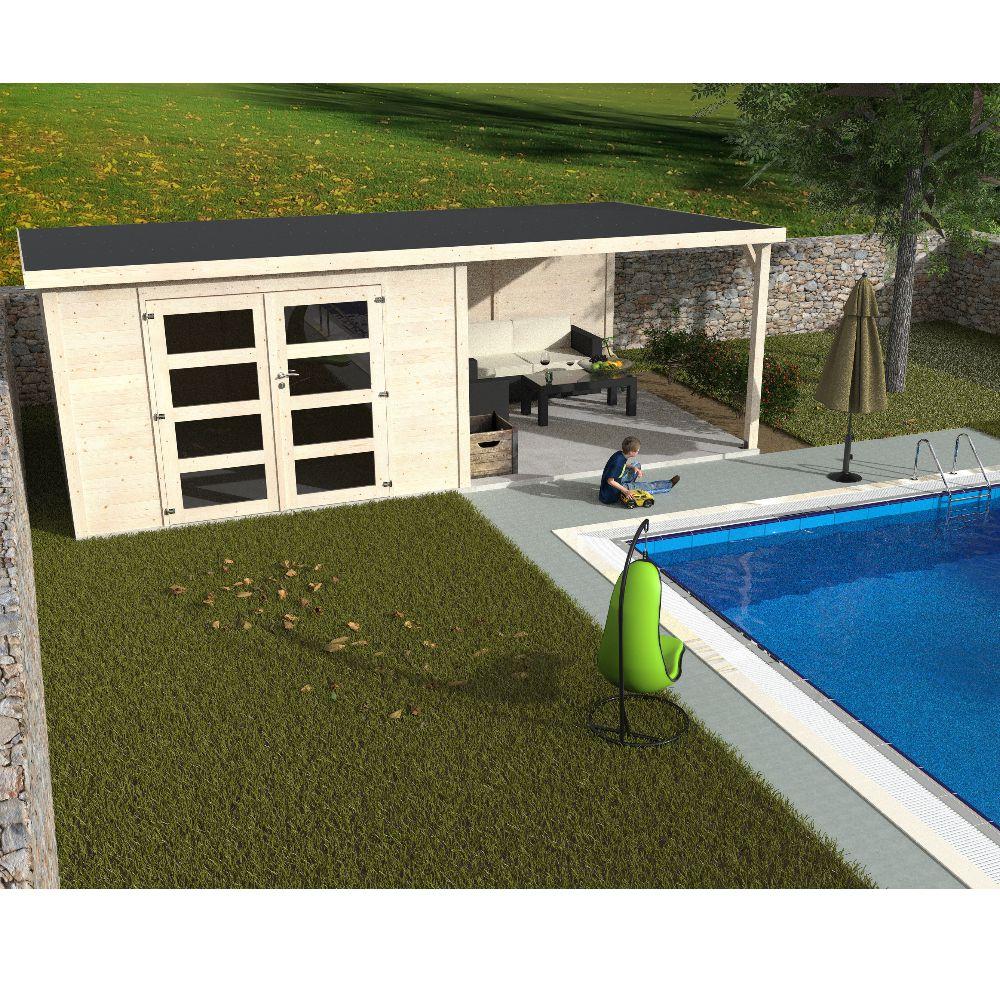 Abri de jardin bois toit plat + auvent Délice 19,11 m² Ep. 28 mm