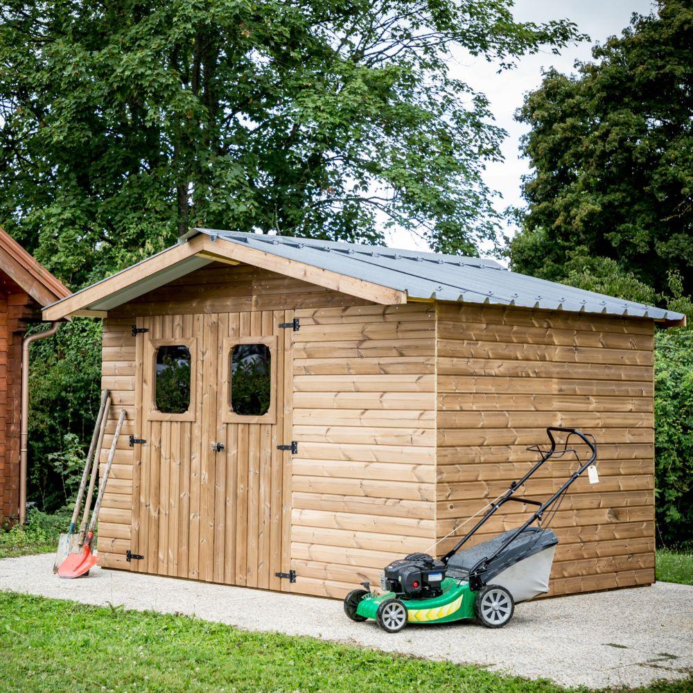 Cabane Jardin En Palette abri de jardin bois thermo chauffé 10.33 m² ep. 19 mm
