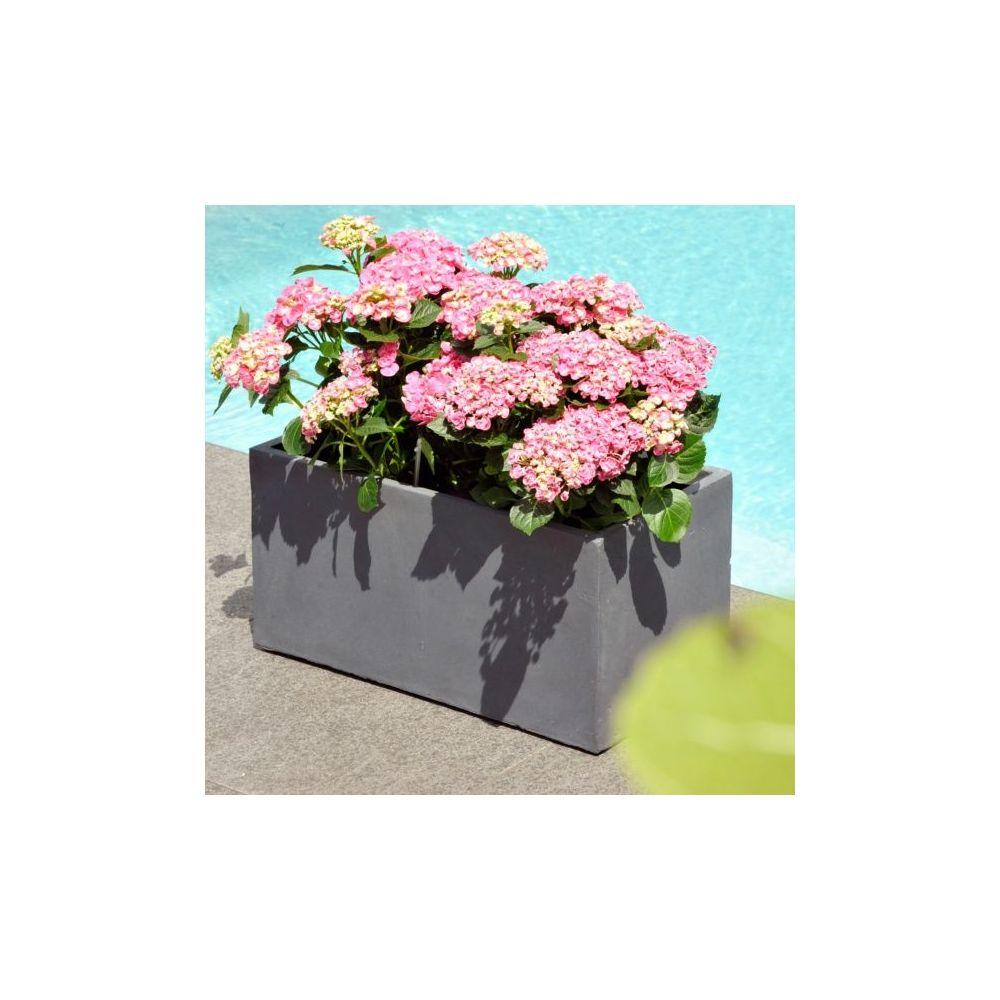 Bac à Fleurs en fibre de terre gris L60 H30 cm