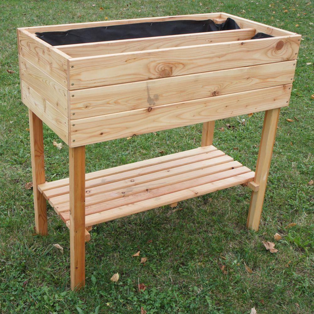 Fabriquer Potager Carré En Bois carré potager sur pied en bois mélèze l100 cm robin hood