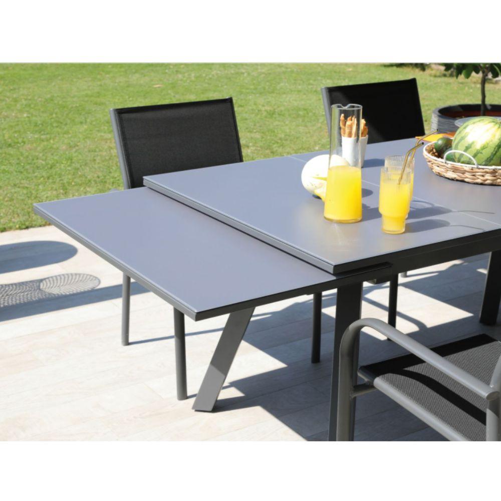 Table De Jardin Aluminium Et Plateau Verre Avec Rallonge 150 250 Cm Dimension Du Carton 157 X 97 X 16 5 Cm Gamm Vert