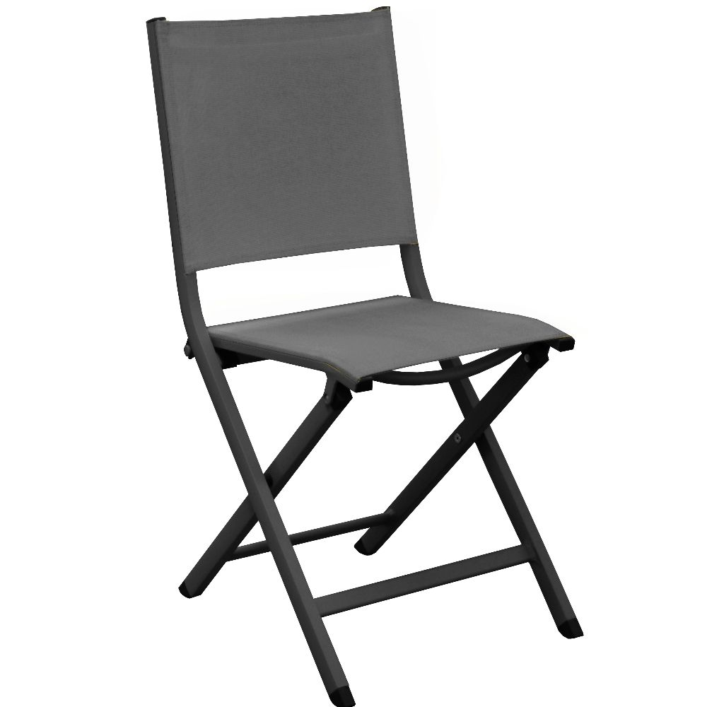 Chaise de jardin Pliante aluminium et textilène graphite/gris