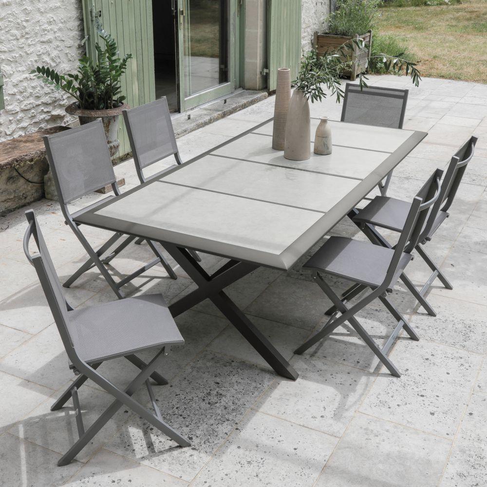 Salon De Jardin 6 Personnes En Aluminium Et Ceramique Gamm Vert