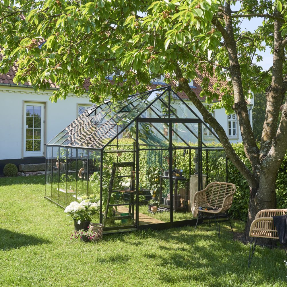 Serre de jardin - Serre en verre trempé Qube noir 9.90 m² + embase - Halls - Serre de jardin GammVert