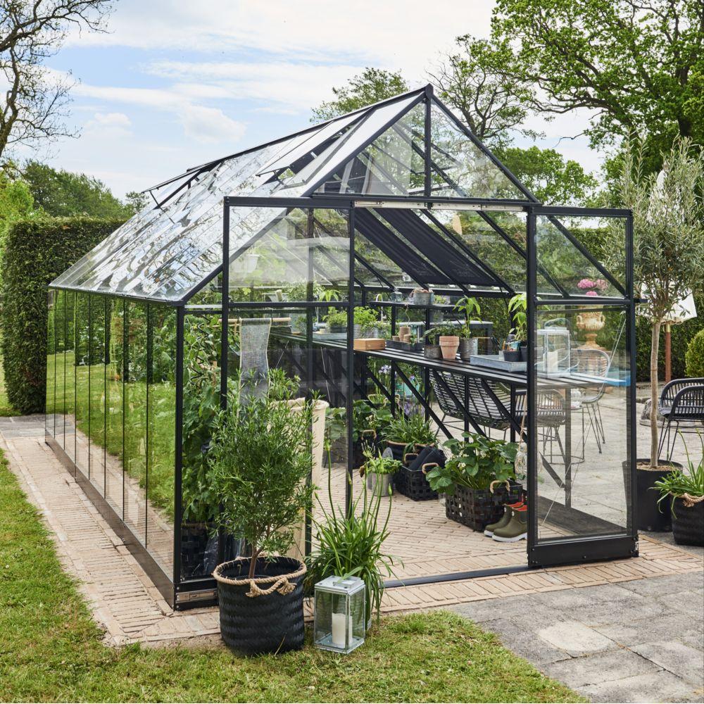 Serre de jardin - Serre en verre trempé Qube noir 13 m² + embase - Halls - Serre de jardin GammVert