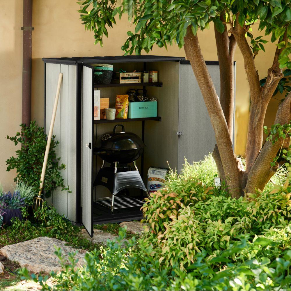 Photo Jardin Zen Chez Particulier armoire de jardin résine keter 1 m² gris