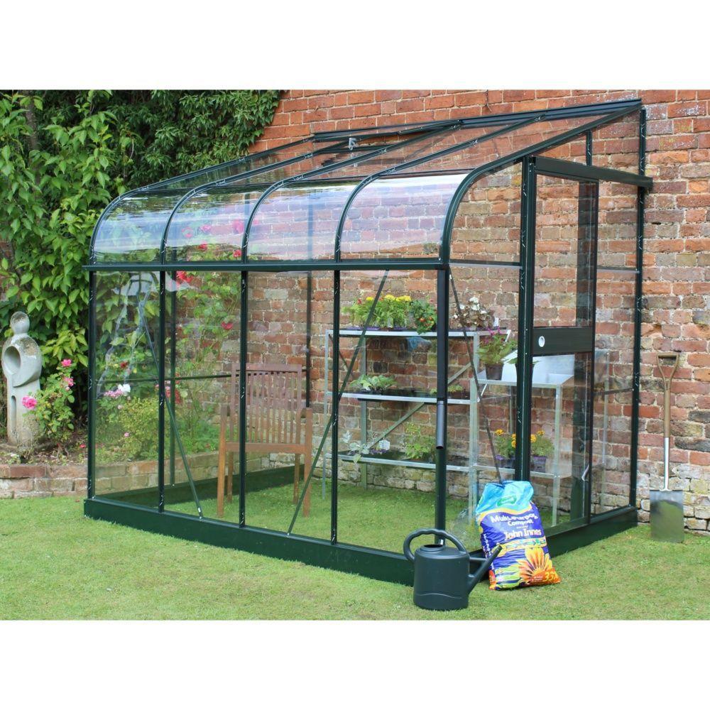 Serre de jardin - Serre adossée en verre trempé Silverline vert 5 m² + embase - Halls - Serre de jardin GammVert