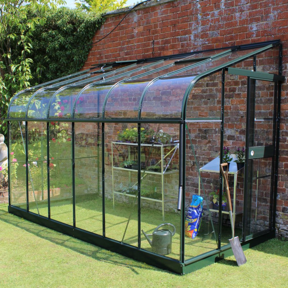Serre adossée en verre trempé Silverline vert 7.5 m² + embase - Halls