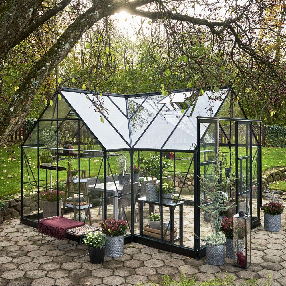 Serre de jardin - Serre en verre trempé Garden Room vert 12,9 m² + embase - Halls - Serre de jardin GammVert