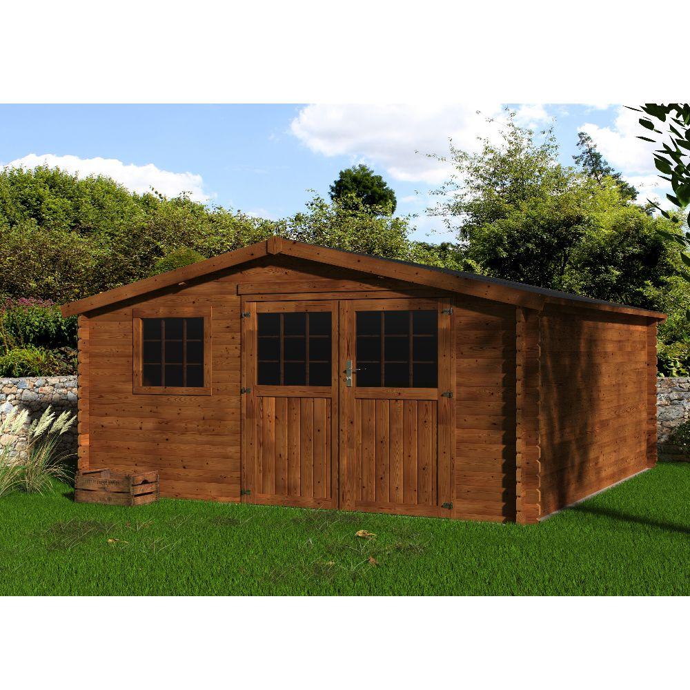 Abri de jardin bois traité marron - Vallauris 16 m² Ep.34 mm