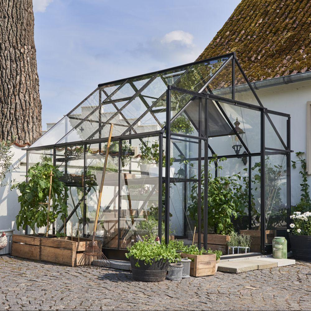 Souffleur De Verre Ile De Ré serre en verre trempé qube carré noir 6.60 m² + embase - halls